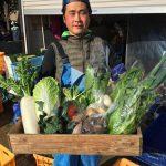 農園の前で無農薬野菜の直売会です